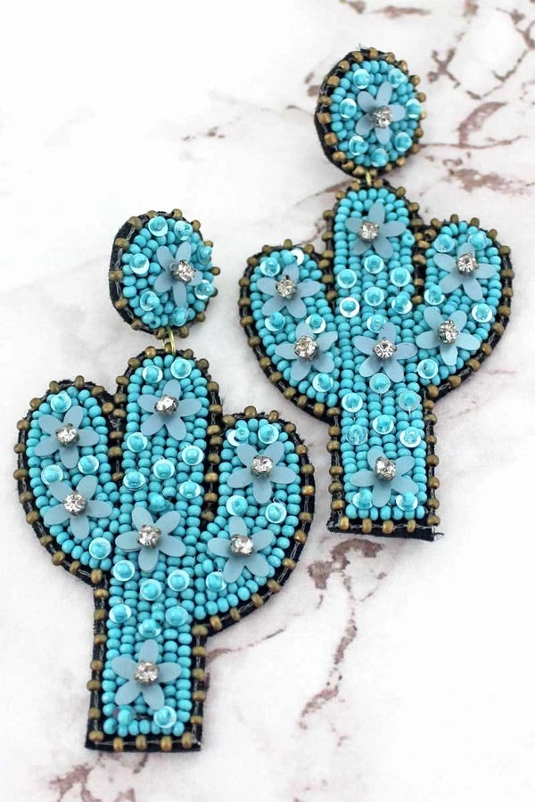 Cactus beaded earrings