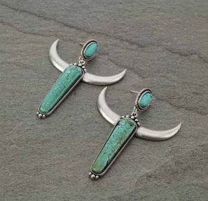 Turquoise stone steer earrings