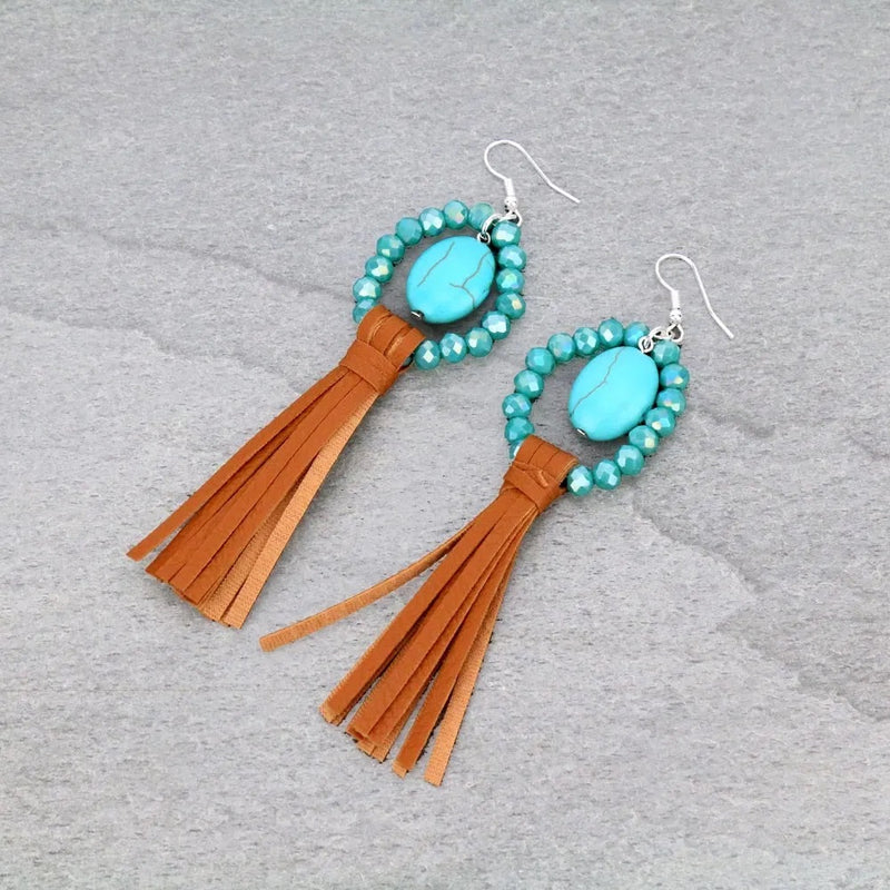 Tan and turquoise beaded earrings