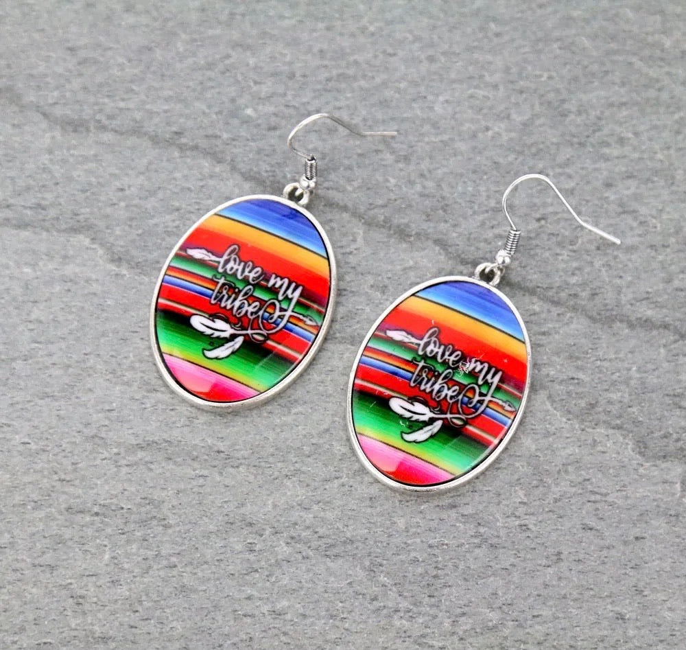 Serape love my tribe earrings