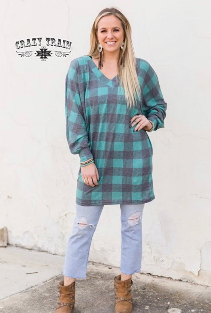 Turquoise plaid top
