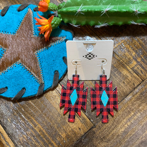 Buffalo plaid turquoise earrings