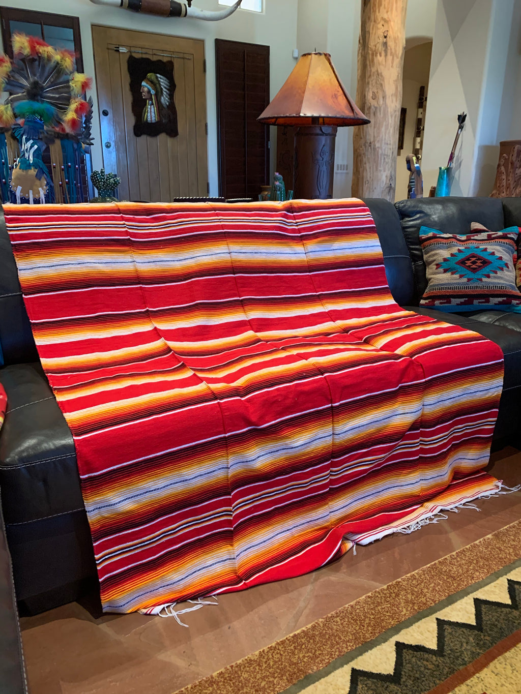 Red yellow serape blanket  7'-5'