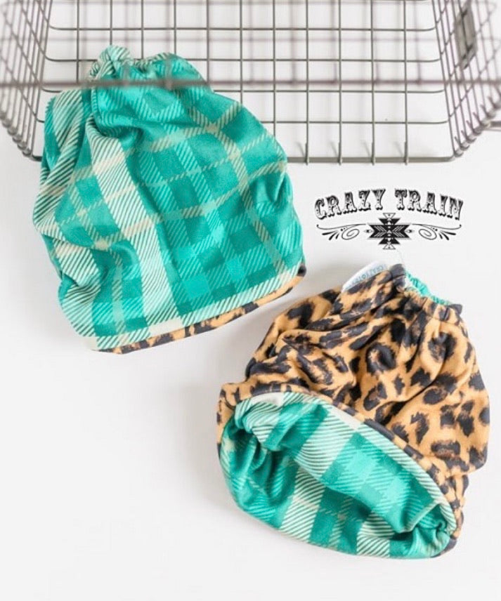 Teal plaid leopard Pony tail beanie hat  SHIPS 1/6