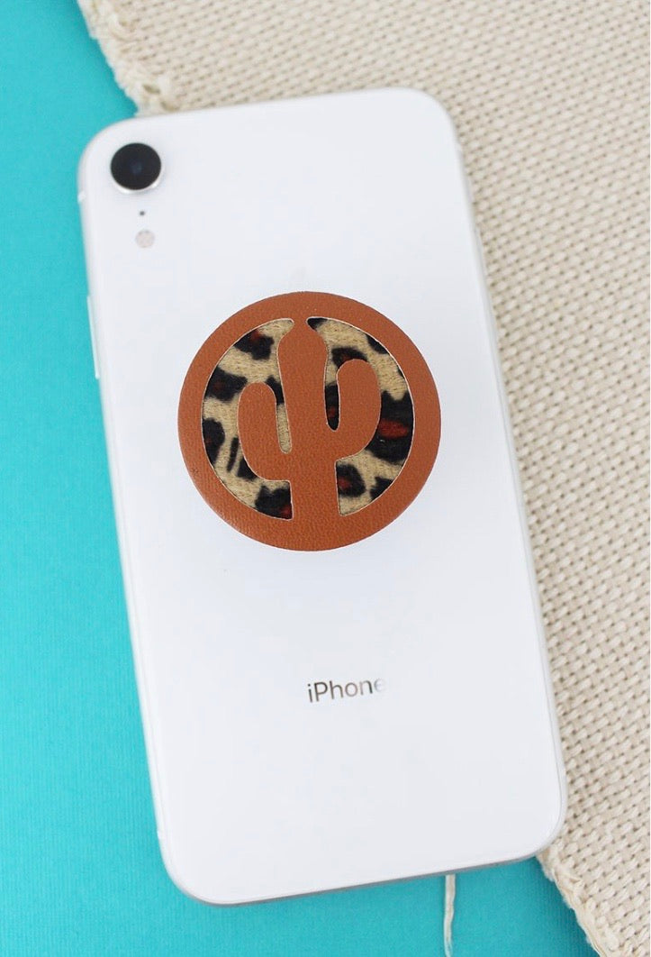 Leopard cactus phone grip cover