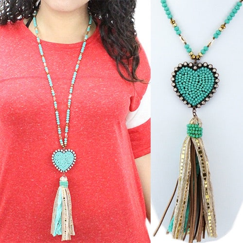 Turquoise Beaded heart necklace