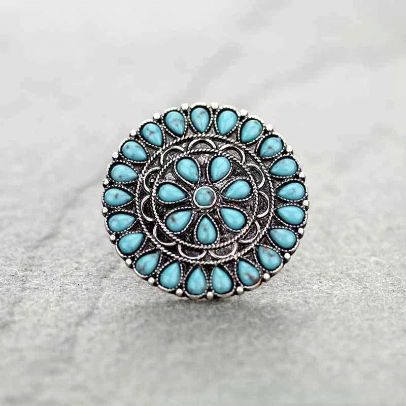 Round turquoise stone ring  One size stretchy