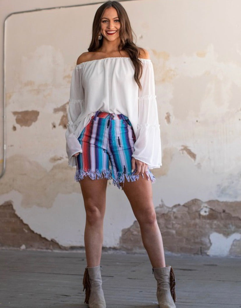 Red blue serape fringe shorts