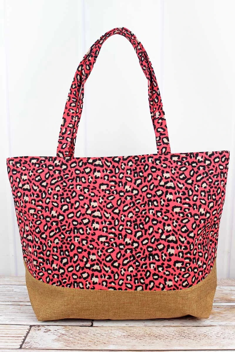 Coral Leopard with jute trim Shoulder Tote bag