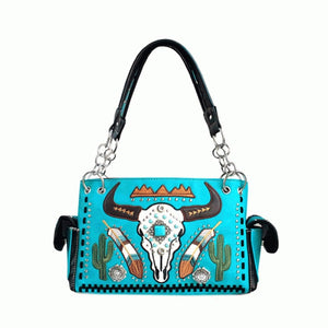 Turquoise western steer purse