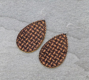 Leather cross-stitch earrings