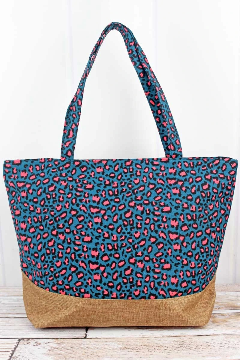 Teal Leopard with jute trim shoulder Tote bag