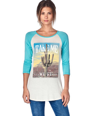 Take me west 3/4 sleeve tee