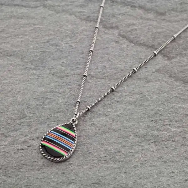 Mini black serape pendant necklace