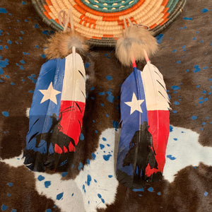 XL USA COWBOY painted feather