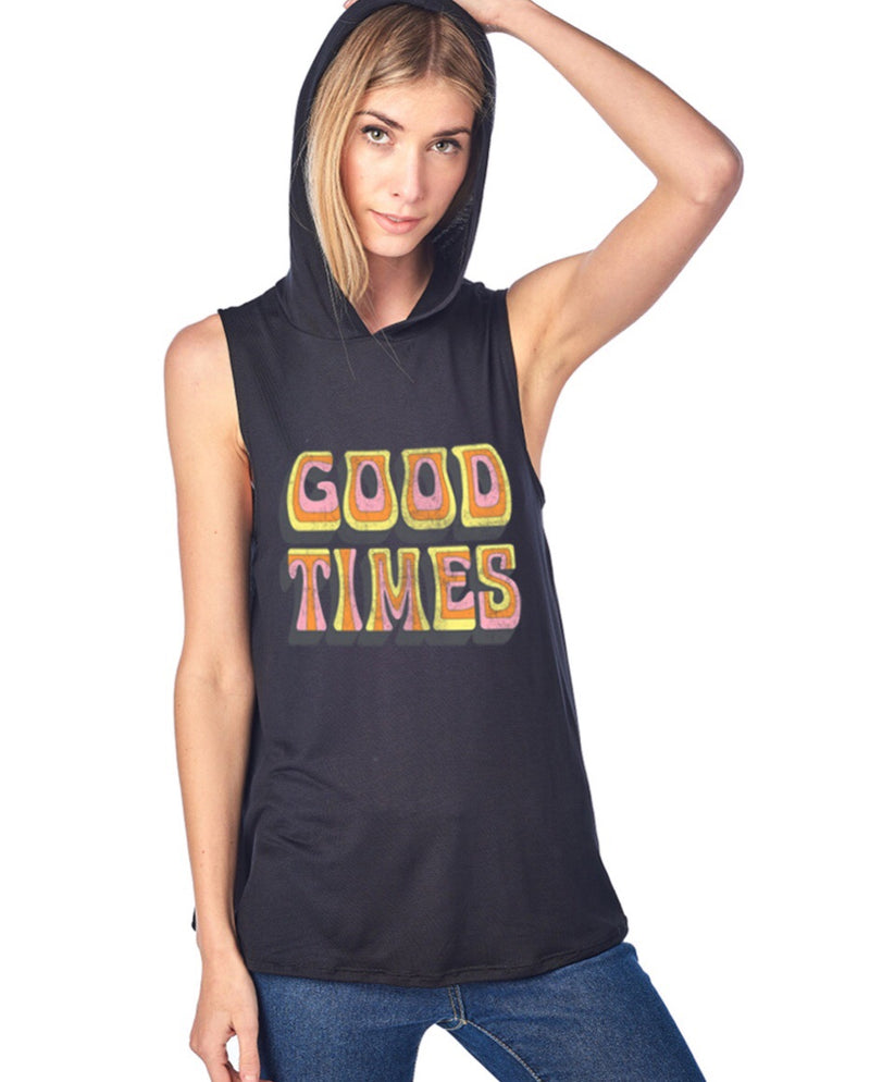Muscle hoodie tank Good times Black