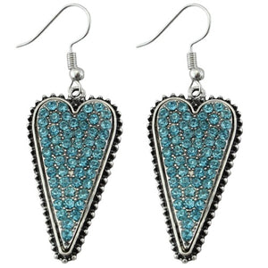Long turquoise beaded heart earrings