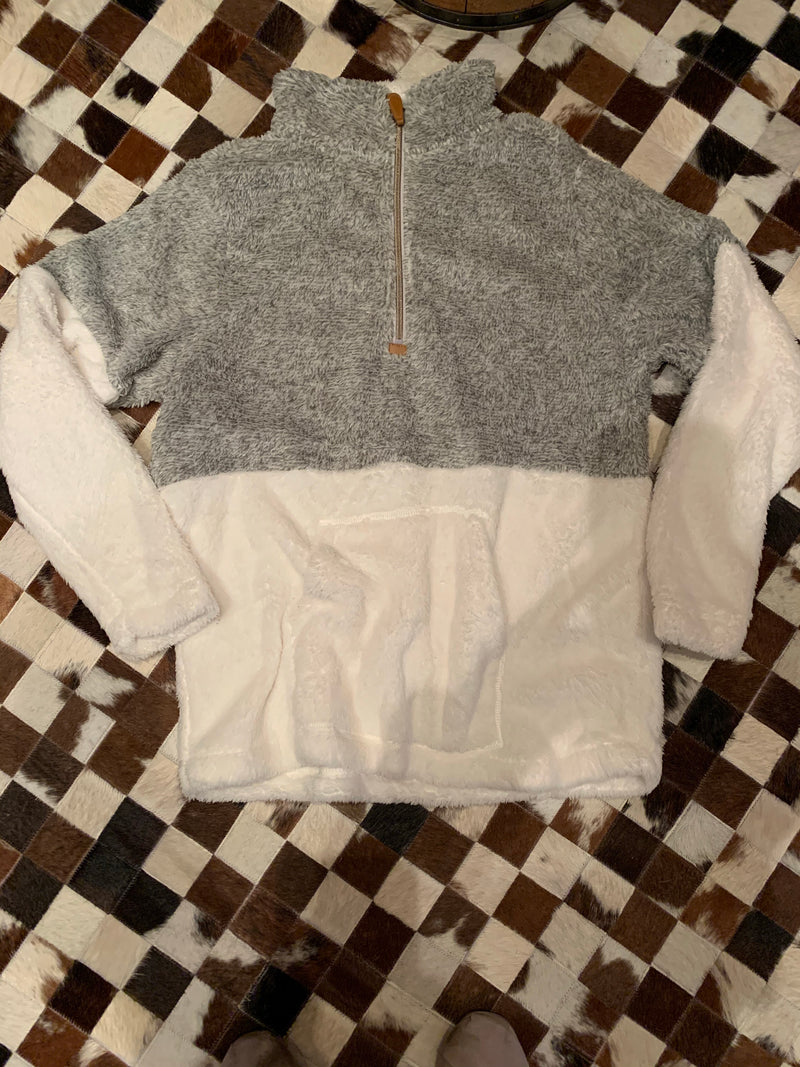 1/4 Zip grey white fleece pullover   Jacket
