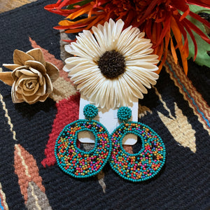Turquoise seed beaded earrings
