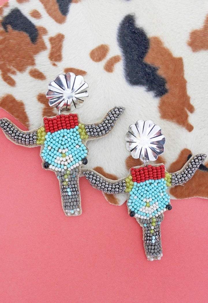 Beaded Sedona steer earrings   Ships 10/5