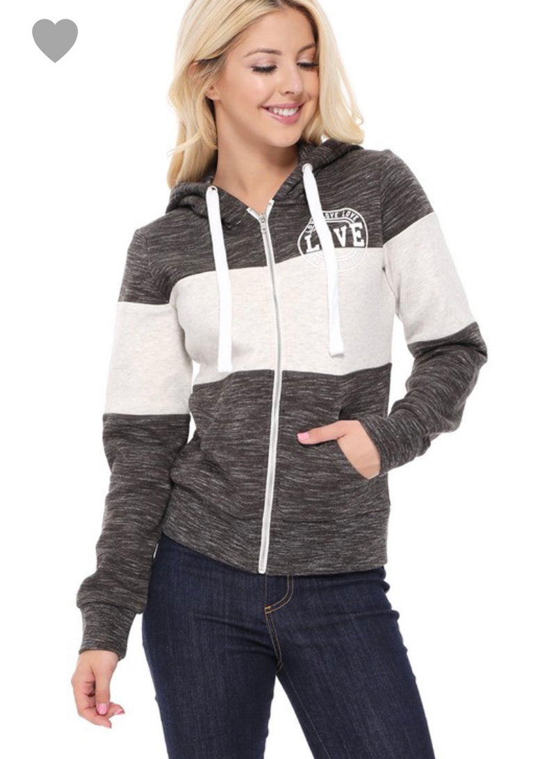 Marbled black LOVE zip up hooded ACTIVEWEAR jacket