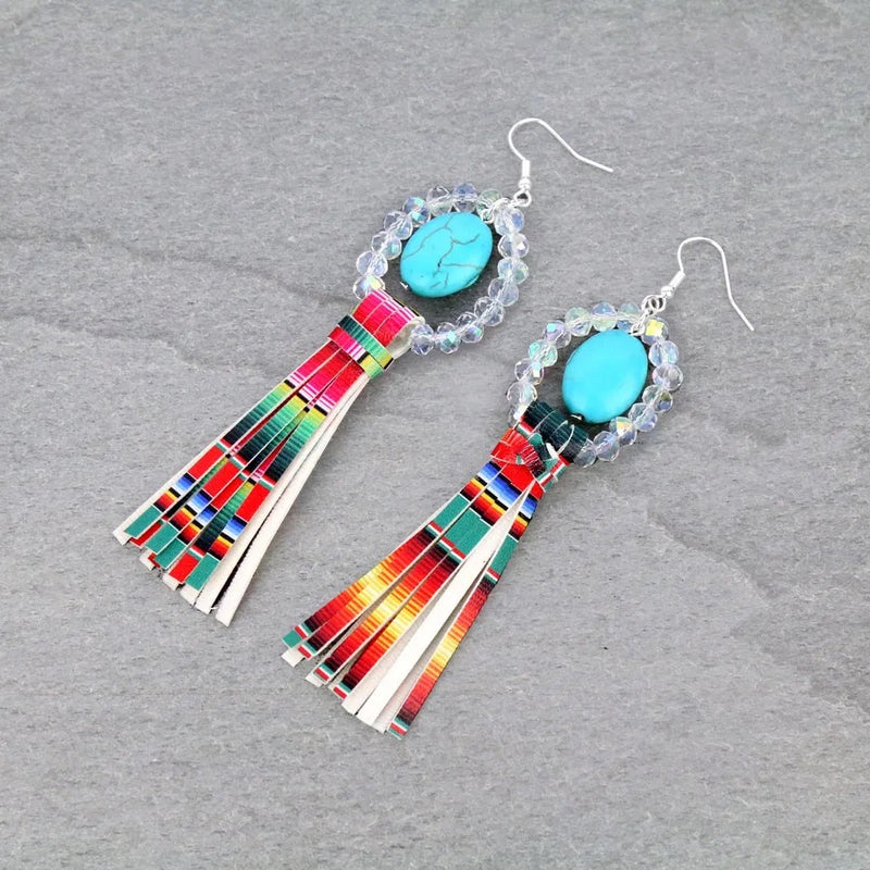 Serape and clear beaded earrings