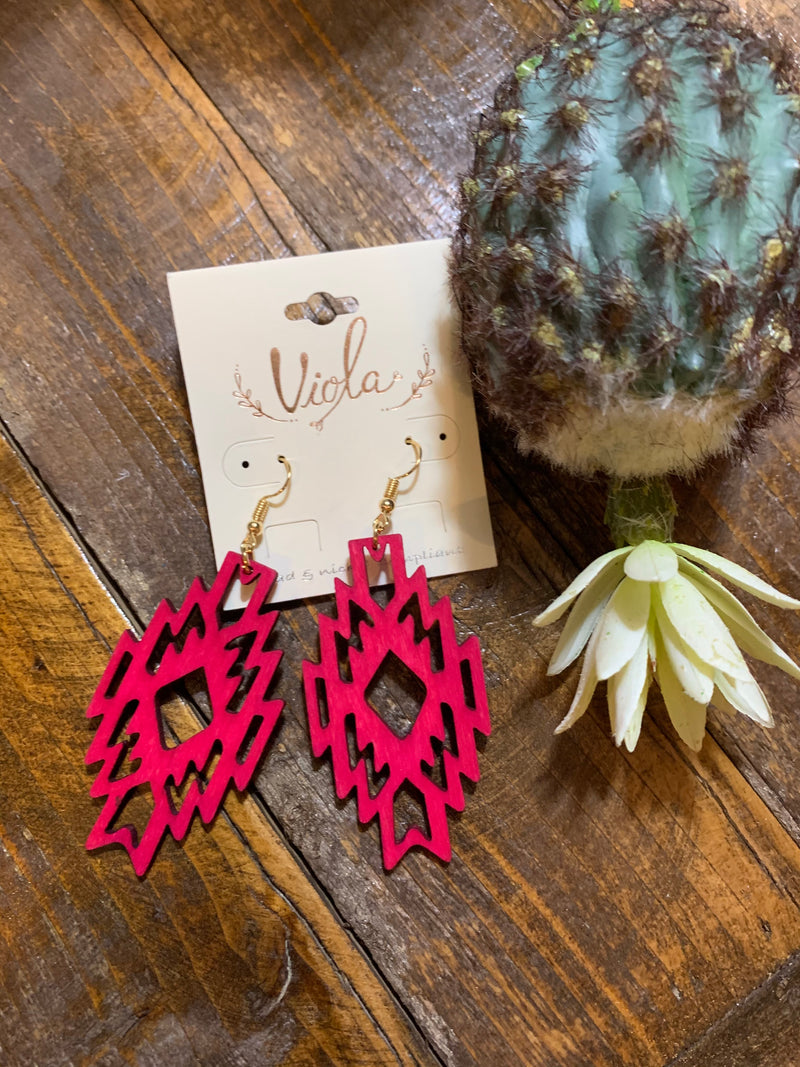 Pink aztec wood earrings