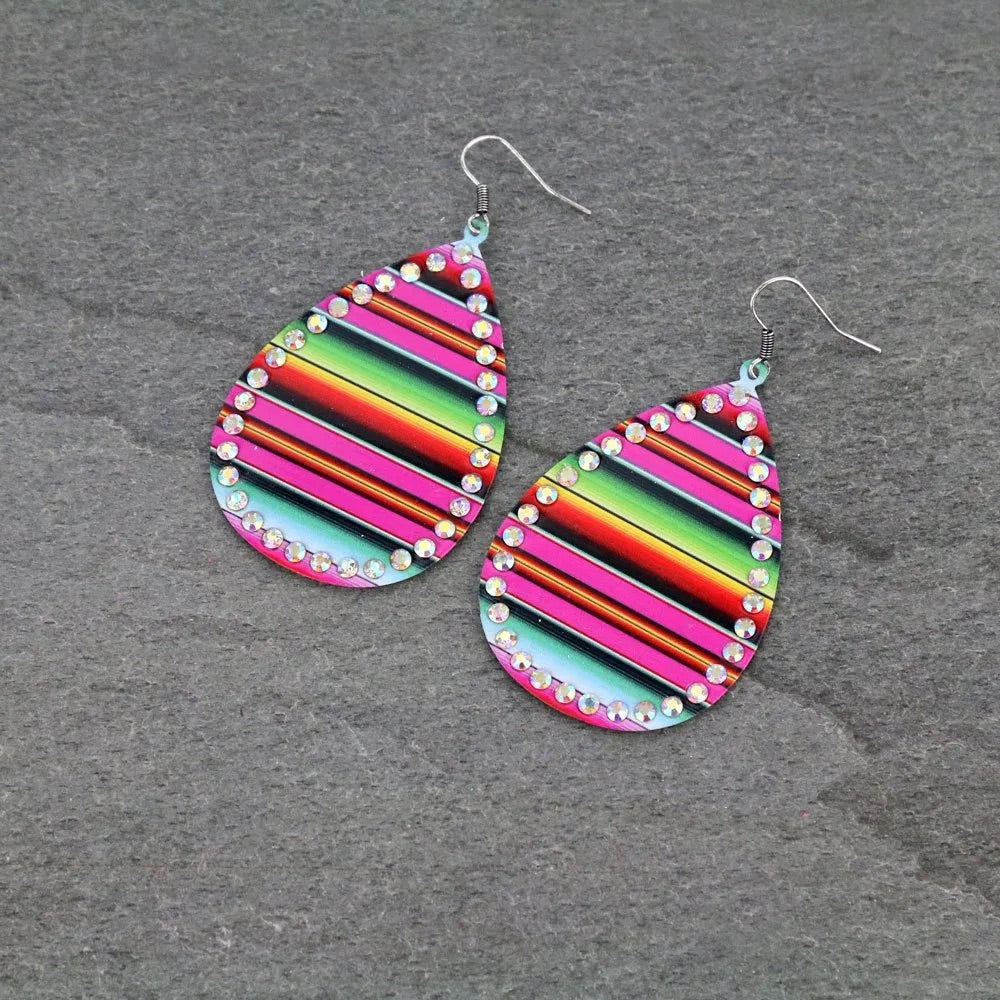 Serape rhinestone earrings  pink