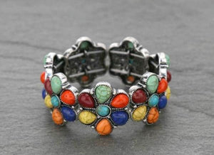 Multi round concho stretch bracelet