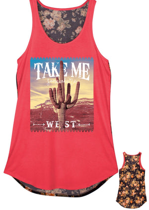 Take me west tank top