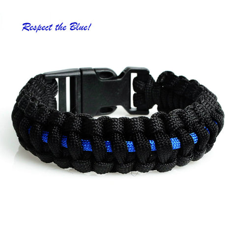"""Thin Blue Line"" Paracord Survival Bracelet"