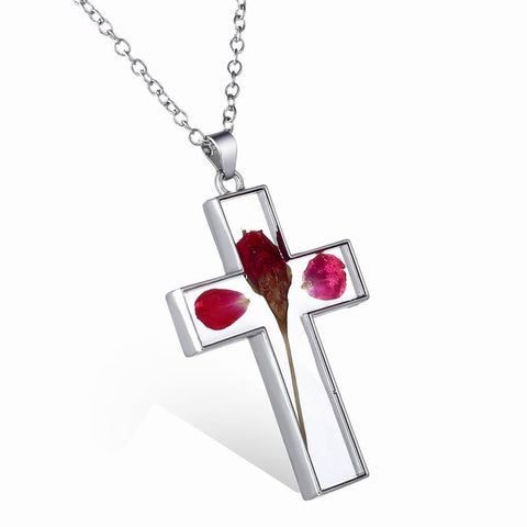 (New Arrival) Dried Flower Cross Necklace - w/Free Shipping