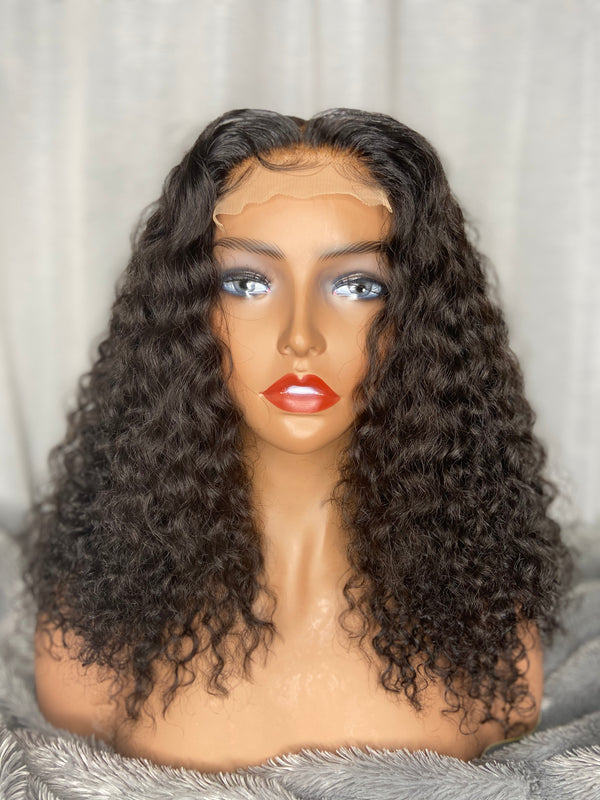 "16"" DEEP CURLY LACE CLOSURE WIG"