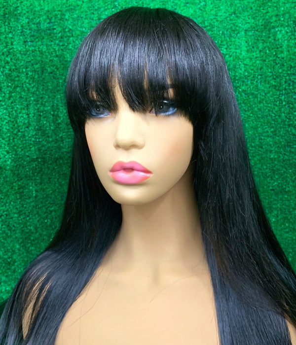 "20"" Straight Lace Closure Unit with Bangs"