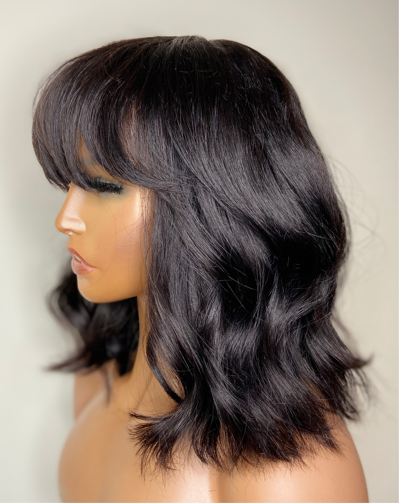 "12"" Straight Lace Closure Bob with Bangs"