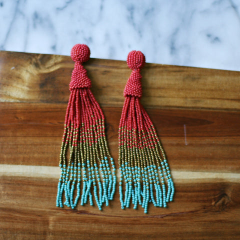 Colorful tassel dangle earrings. Long beautiful beaded tassel earrings. Seed bead tassels. red turquoise multi color ombre tassel earrings