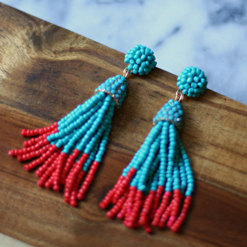 Athena Earrings (Turquoise & Coral)