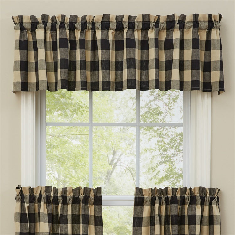 "Wicklow Black & Tan  Buffalo Check Valance 14"" X 72"