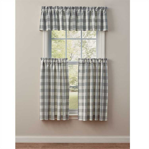 "Wicklow Dove Gray Grey and white  Buffalo Check Valance 14"" X 72"""