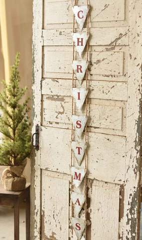 Vertical Metal CHRISTMAS Banner on Jute