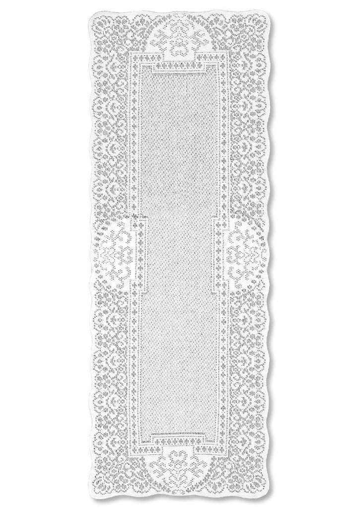 "Heritage Lace WHITE CANTERBURY CLASSIC Table Runner 14""x36"""