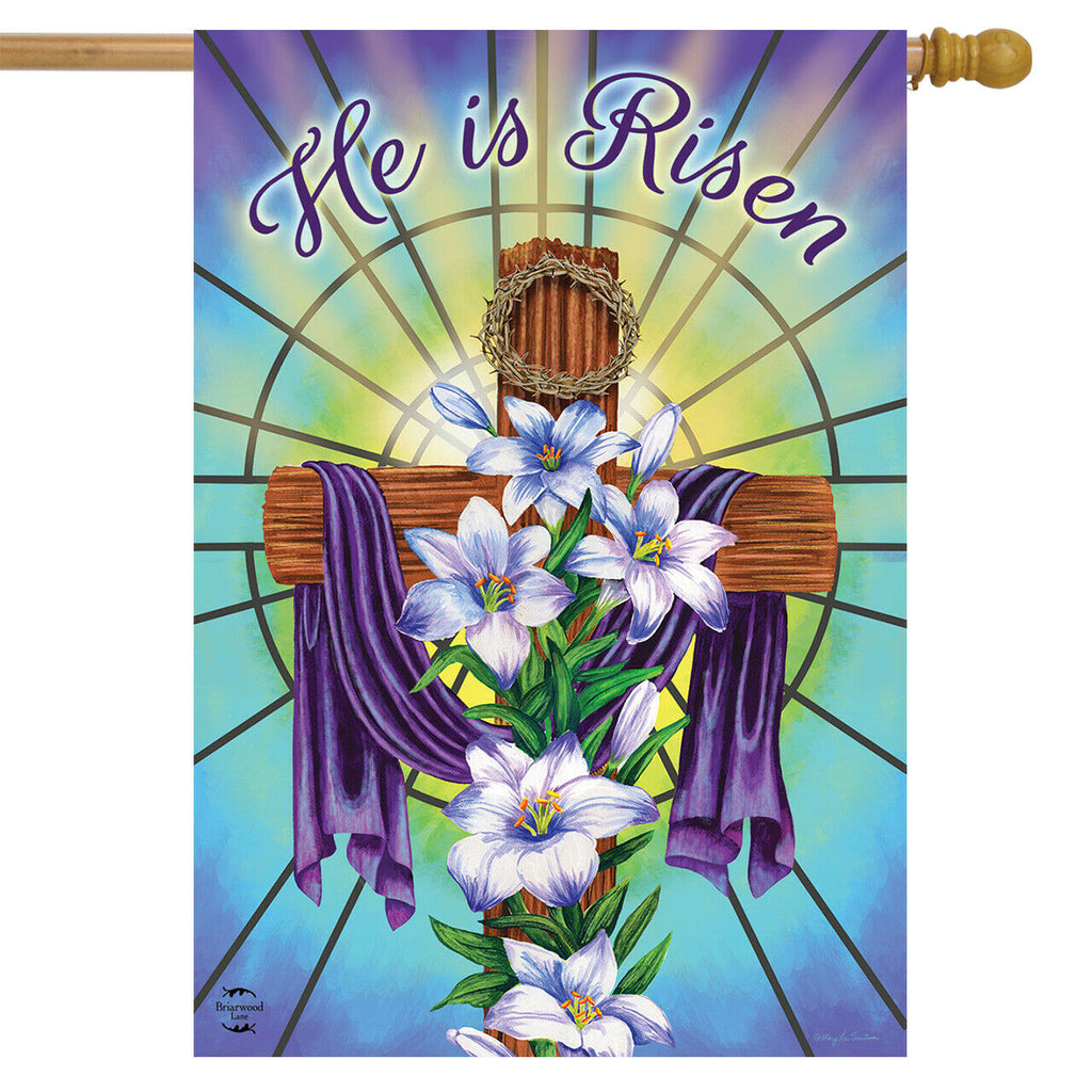 "Easter Cross He is Risen with Lilies  Standard Flag 28"" x 40"""