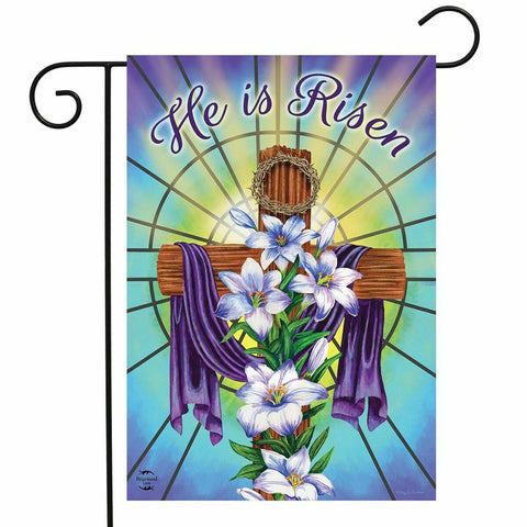 "Easter Cross He is Risen with Lilies Garden Flag 12.5"" x 18"""