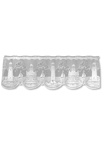 "Heritage Lace White Lighthouse Valance 60"" W X 15"" L"