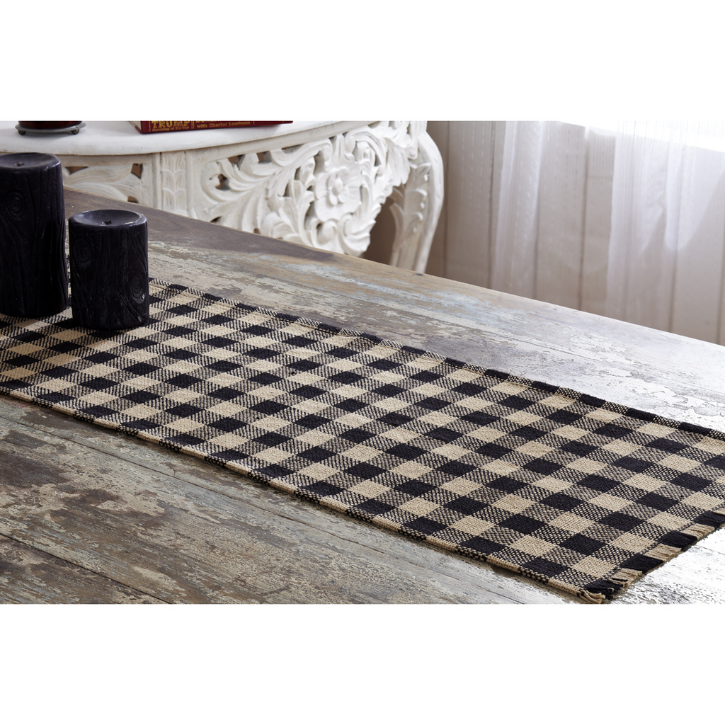 Farmhouse Burlap Black Check Runner Fringed 13x48