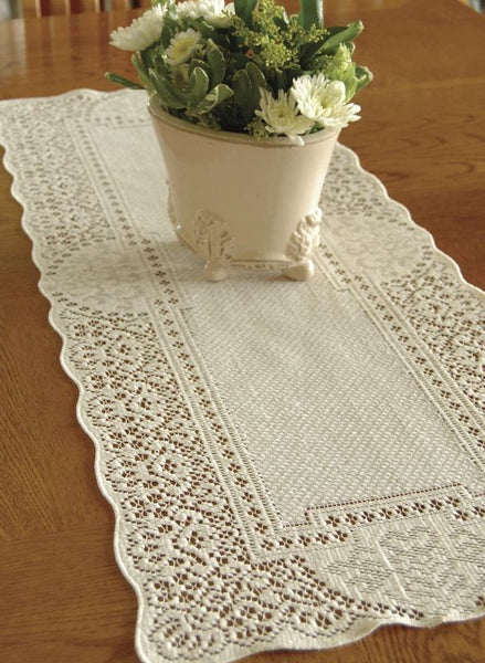 "Heritage Lace ECRU CANTERBURY CLASSIC Table Runner 14""x36"""