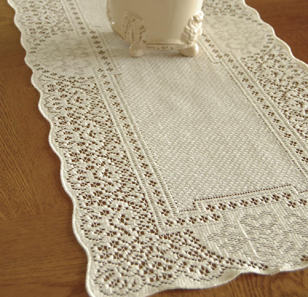 "Heritage Lace ECRU CANTERBURY CLASSIC Table Runner 14"" x 72"""