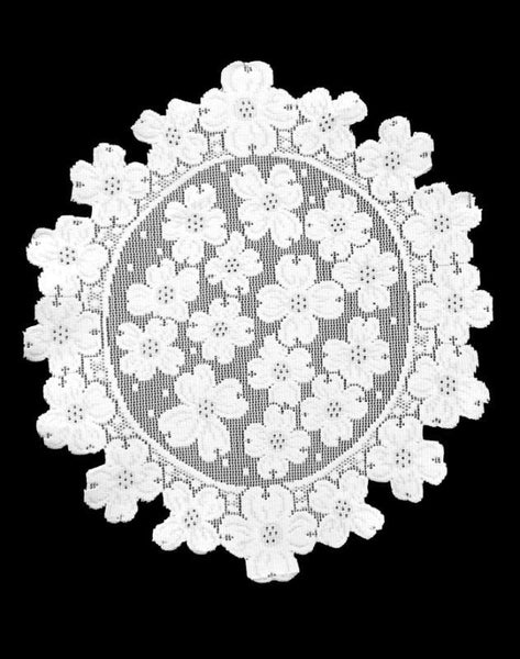"Heritage Lace White DOGWOOD 14"" Round Doilies Set of 2"