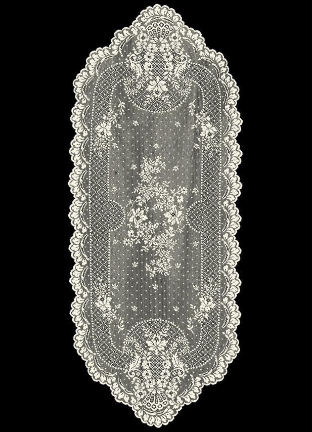 "Heritage Lace White FLORET Table Runner 14"" x 28"""