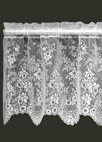 "Heritage Lace White Floret Window Valance 60""w x 16""L"